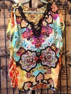 Mushka by Sienna Rose Colorful Sheer Chiffon Boho Tunic Top Cover Up XL  #MushkabySiennaRose #Tunic #Summer