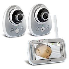 VTech VM342-2 Safe & Sound Expandable Digital Video Baby Monitor with 2 Cameras, Standard Lens and Wide-Angle Lens