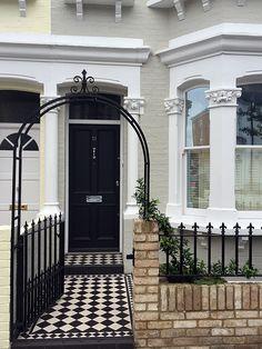 victorian mosaic tile path front garden deisgn wall rail arch fulham chelsea putney london