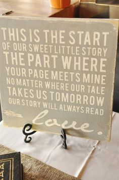 Wedding Rehearsal Dinner}Literary Love, cute to frame on vintage frame to fill up tables instead of pictures