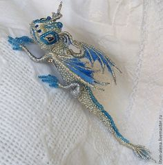 "Buy Dragon brooch ""Snow"". Brooch beads. Embroidered dragon. - brooch, copyright brooch"