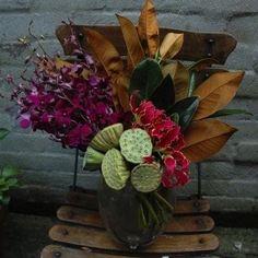 Orchids, lotus pods & magnolia