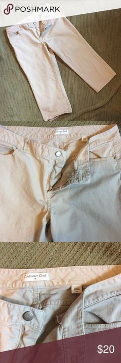 Denim Khaki Coldwater Creek Cropped Capris Clean pants that have a wrinkly look to them. Worn a few times. I don't care for how they fit my rear, I had hoped it would change with wear but no give after 5 washings. Worn to work with flats or dressy flip flops (I ❤️ FL). 10/10 condition Coldwater Creek Jeans Ankle & Cropped