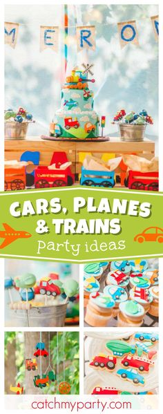 Check out this awesome Planes, Trains and Automobiles 1st Birthday party! The birthday cake is stunning!! See more party ideas and share yours at CatchMyParty.com #1stbirthday #boybirthday
