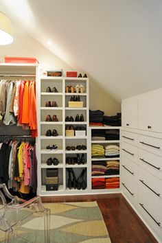 Built In Closet Walls angled ceiling   Storage and Closets Design Ideas, Remodels and Pictures