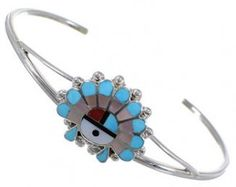 Multicolor Inlay | Chief Headdress Jewelry | Zuni Jewelry | Silver Bracelet