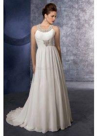 Perlenbesetztes Chiffon schick romantisches Brautkleid