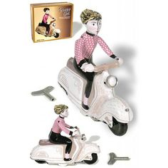 Scooter Girl : Vespa Motorbike : White and Pink Pretty Wind Up : Classic Tin Toy