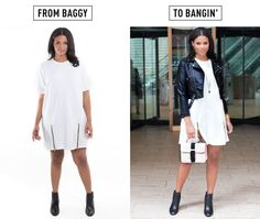 3. Emphasise your waist, even in a shapeless sack dress.  You don't have to wear something tight or cinch in your waist to create a flattering silhouette. Layer a cropped jacket over an otherwise shapeless dress for instant waist emphasis without a belt.