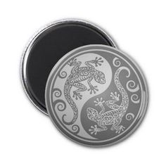 Yin Yang Geckos, Stainless Steel Effect Fridge Magnets