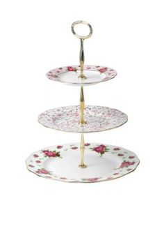 Royal Albert New Country Rose Vintage White 3 Tier Cake Stand - White - One Size  sc 1 st  Pinterest & Old Country Roses 3 Tier Cake Stand Royal by LavenderRoseCottage ...