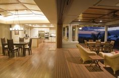 Maui Tropical Kitchen - tropical dining room with retractable doors to veranda and spectacular ocean views