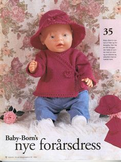 Albumarkiv Knitting Dolls Clothes, Doll Clothes, Boy Doll, Girl Dolls, Doll Patterns, Knitting Patterns, Baby Born Clothes, Baby E, Reborn Dolls