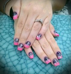Two color acrylic nails Colored Acrylic Nails, Aesthetic Design, Gorgeous Nails, Short Nails, On Your Wedding Day, Spring Nails, You Nailed It, Nail Art Designs, Class Ring