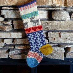 Hand Knit Christmas Stocking with Brown Moose, Red Red Hearts and Plum Argyle with Gold Heel - Can be Personalized
