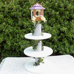 Items similar to Rapunzel Cupcake Tower 3 Tier Dessert Stand Round on Etsy Rapunzel Cupcakes, Rapunzel Birthday Cake, Tangled Birthday Party, Princess Cupcakes, 4th Birthday Parties, 3rd Birthday, Disney Princess Party, Princess Birthday, Porta Cup Cakes