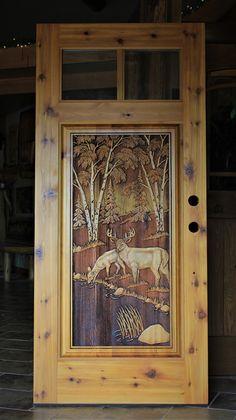 Carved deer design in knotty cedar door Custom Wood Doors, Rustic Doors, Wooden Doors, Art Carved, Carved Door, Cordwood Homes, Home Decor Furniture, Rustic Furniture, Craftsman Door