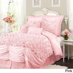 Comforter set more info lush decor lucia white queen 4 piece comforter - White bedding sets comforters Ruffle Comforter, Queen Comforter Sets, Bedding Sets, White Bedding, Ivory Bedding, Cream Bedding, White Linens, Bedding Decor, Pink Bedspread