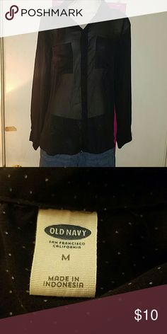 Old Navy Sheer Shirt Black with white polka dots. Sheer button down shirt from Old Navy. Two pockets in front. Size medium. Old Navy Tops Button Down Shirts