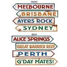 Australia city signs help bring the Outback atmosphere to any party! Australian Street Sign Cutouts come in a package of 4 assorted signs. Perth, Brisbane, Melbourne, Sydney, Australian Party, Australian Road Signs, Australia Day Celebrations, Leaving Party, Alice