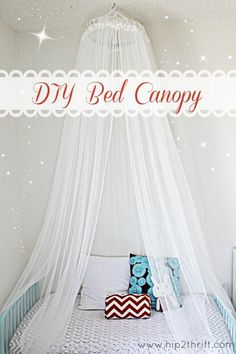 How to make your own Canopy over the bed, Supplies: 1 large embroidery hoop (I found mine at the thrift store for $1). sheer curtains, or any fabric or tulle that strikes your fancy (mine were from the As-is section at Ikea for just .99 cents). 1 ceiling screw hook (I got it at my local hardware store for less then a $1, as well). coordinating ribbon.