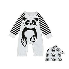 Winzik Infant Baby Boys Girls Romper Panda Pattern Striped Sleeve Bodysuit  Cute Hats Jumpsuit Outfits Clothes Set 03 months *** Want to know more, click on the image.Note:It is affiliate link to Amazon.