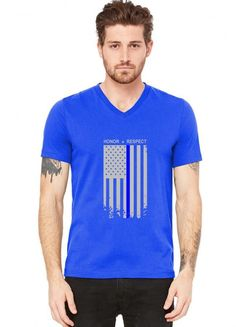 thin blue line american flag honor respect funny V-Neck Tee