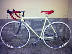 My bike. Mid-late 80s/early '90 Colnago bike (maybe a Super-Sprint) with Ofmega/Campagnolo Srl /3T Cycling components. The original color was blue navy. Repainted in desert sand color, 1987 San Marco Ergo saddle, Brooks England leather bar tape, white Vittoria tyres.
