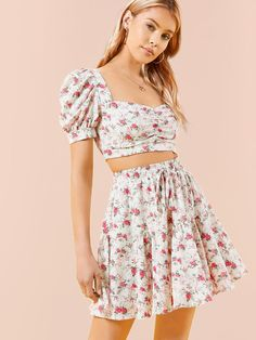 2 Piece Outfits, Two Piece Outfit, Two Piece Skirt Set, Satin Pj Set, Ditsy Floral, Clothing Items, Fashion Accessories, Floral Prints, Womens Fashion