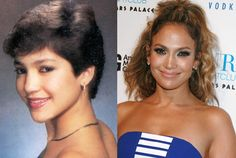 Jennifer Lopez in a Senior Yearbook Photo at Preston High School in the Bronx (1987) and J.Lo Today