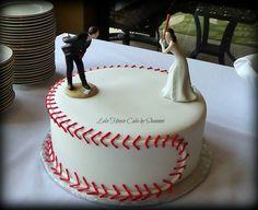 Groom's Cake, Grooms Cake, Baseball Cake, Baseball, Softball, Softball Cake, Bride, Groom, Ball Cake, Wedding, Lake House Cake by Shannon Panama City Beach, FL