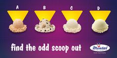 Which one of the scoops stands out among the crowd? Can you spot the Odd Scoop Out?