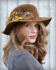 Rustic Autumn Wide Brim Boho Hat by Jaya Lee Designs  This lovely wide brim hat is made from a carmel brown fur felt. The felt was hand molded