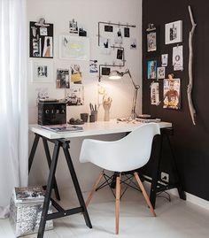 Bureau en noir et blanc 79 Ideas via Nat et nature