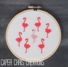 Flock of Seven Flamingos Cross Stitch Pattern, pdf, digital download by CaperChrisCreations on Etsy