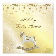 Classy Rocking Horse Neutral Christmas Baby Shower Custom Invitation