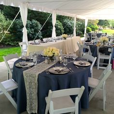 #laurelcreekmanor #snuffinscatering #tacomacatering #wedding #weddingcatering #reception #lace #slateblue #headtable #bride #groom