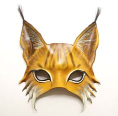 Lynx Leather Mask wildcat cat ear tufts by teonova on Etsy, $125.00 Lynx mask costume outfit