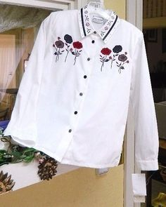 Napa Valley Petites SP Blouse White/Multi Floral Houndstooth Accents Long Sleeve #NapaValley #Blouse #Career