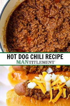 Make this Hot Dog Chili Recipe to pile on top of your hot dogs! This simple beef chili is delicious on hamburgers, french fries and nachos too! Best Chili Recipe, Chilli Recipes, Beef Recipes, Cooking Recipes, The Hat Chili Recipe, Easy Chili Recipe For Hot Dogs, Crock Pot Hot Dog Chili Recipe, Recipe For Chilli, Chili Burgers Recipe