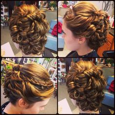 Hair updo upstyle curled curls brunette braid prom wedding cute pretty