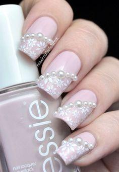 Pearl nail art, pearl nails, lace wedding nails, polish wedding, lace n Lace Wedding Nails, Lace Nails, Wedding Nails Design, Pink Nails, Polish Wedding, Wedding Lace, Matte Pink, Trendy Wedding, Pearl Nail Art