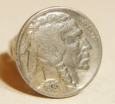 Vintage Native American Coin Ring Buffalo by BonnieVictoriasGems, $22.00