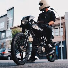 caferacersofinstagram: #MopedMonday starring @jolo_santos all...  caferacersofinstagram:  #MopedMonday starring @jolo_santos all black Puch Magnum. Looking good thanks for sending this in   #croig #caferacersofinstagram