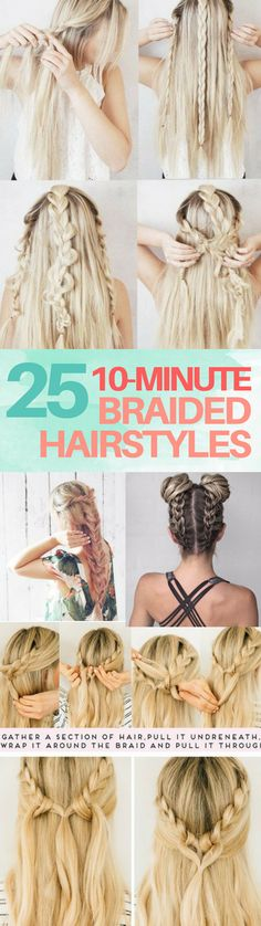 The BEST easy braided hairstyles you can do in 10 minutes or less! There are hairstyles for short hair and long hair. I LOVE the pull through braid and dutch braids with messy bun look.