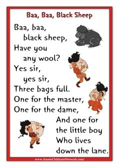 Baa Baa Black Sheep  A ton of nursery rhyme printouts