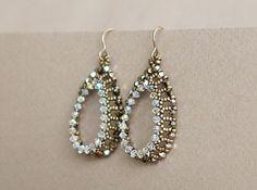 Open Teardrops Earrings Beading Tutorial Seed Beads and