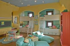 bunks & playroom....this would be an awesome concept for the girls room....not so little girl decorated but this would be awesome!!!