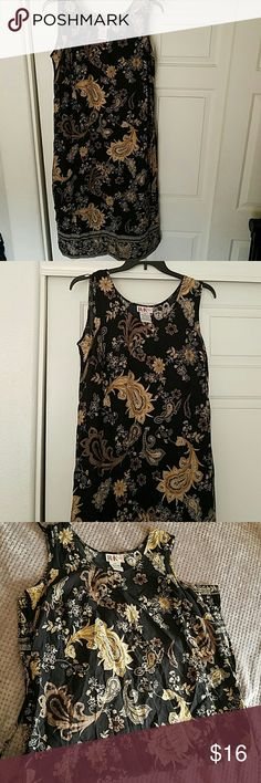 Paisley Print Dress Beautiful black dress with paisley print in tan and brown shades R & K Dresses Maxi