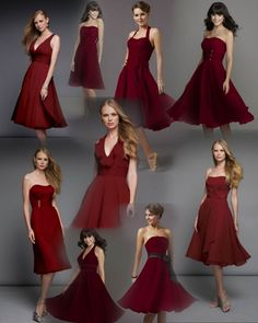 really liking the idea of burgundy bridesmaid dresses